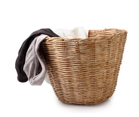Close up of used male underwear in basket isolated on white clip
