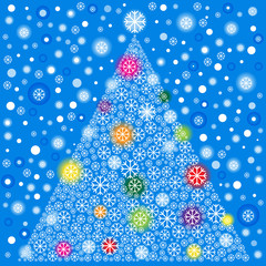 color vector christmas tree of snowflakes