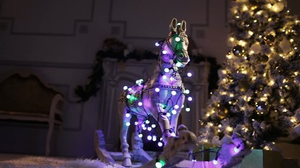 Christmas tree and  Wooden horse