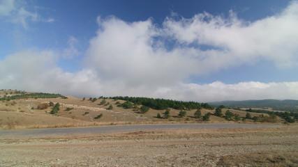 Road through Ai-Petri plateau in the Crimean mountains