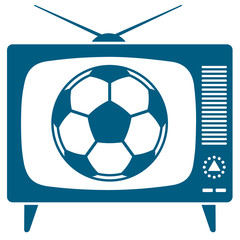 Soccerball in retro TV