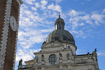 Dome and campanile of Basilica di Monte Berico in Vicenza in Ita