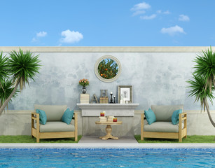 Blue garden with pool