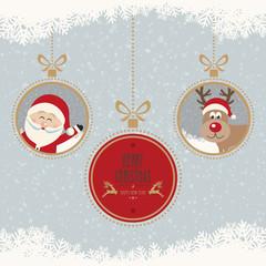 christmas ball santa reindeer merry christmas snowflakes backgro