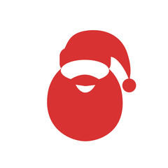 santa claus red hat beard flat icon design