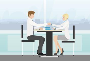 Business people handshake meeting signing agreement