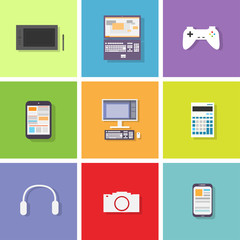 device set color icon flat dsign vector