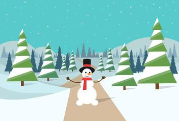 winter forest landscape snowman Christmas background
