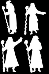 set of santa claus silhouettes isolated on black