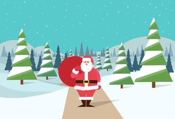 Santa Claus winter forest landscape santa Christmas background