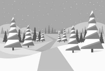 winter forest landscape Christmas black and white