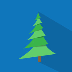 new year green christmas tree over blue background