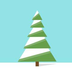 new year green christmas tree flat icon design