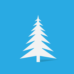 new year white christmas tree over blue background