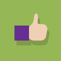 thumb up hands gesture like icon flat design
