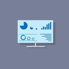 desktop screen icon flat design vector