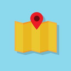 map navigation icon flat design vector
