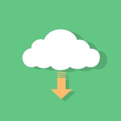 cloud download icon flat design vector