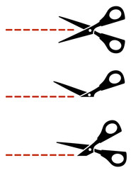 scissors with red cut lines