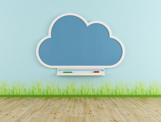 Empty playroom with cloud chalkboard