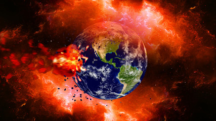Earth burning or exploding after a global disaster