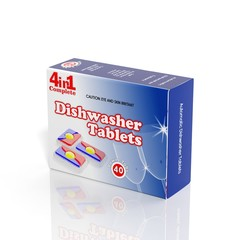 3D Dishwasher Tablets paper box isolated on white