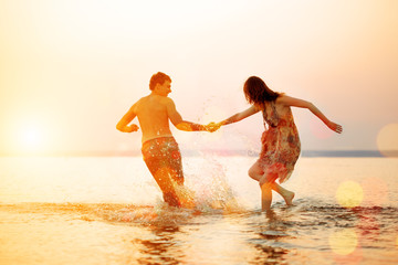 Summer fun holyday on beach background. Couple in love in beach