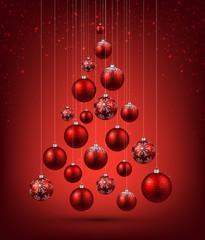 Christmas tree with red christmas balls.