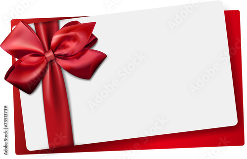 White paper card with gift red satin bow. - 73513739