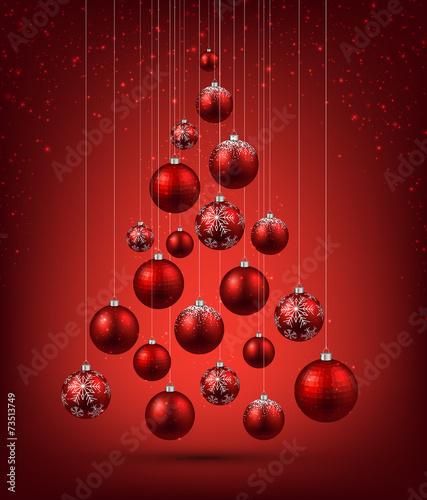 Christmas tree with red christmas balls. - 73513749
