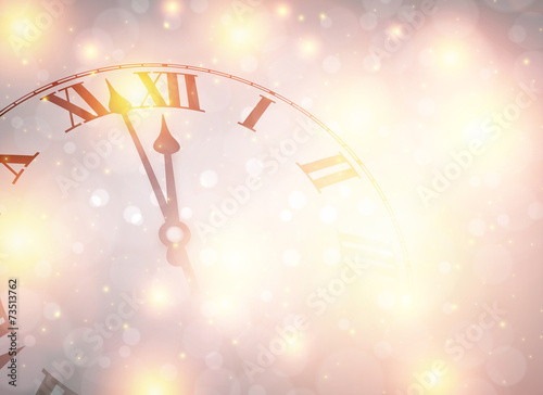 New year clock with snowy background. - 73513762