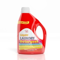 3D Laundry Detergent plastic bottle isolated on white background