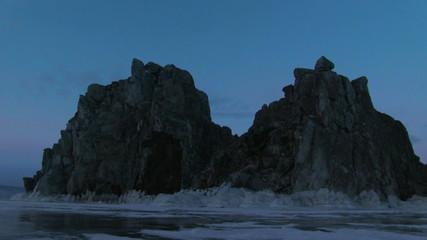 Evening on Shamanka Rock timelapse,Baikal lake in Siberia