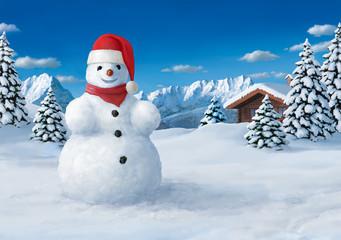 Schneemann mit Weihnachtsmannmütze