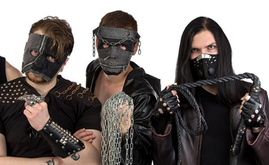 Portrait of the metal band with chain