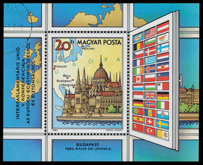 Stamp printed in Hungary shows Conference in Europe, Budapest