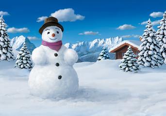 großer Schneemann in den Bergen