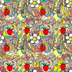 Seamless pattern with strawberries and flowers