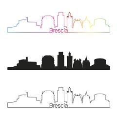 Brescia skyline linear style with rainbow