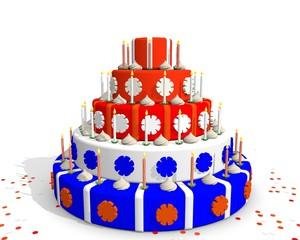 Nederlandse taart rood wit blauw en oranje