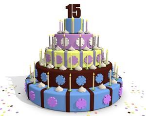 Vijftien jaar - taart met cijfer 15