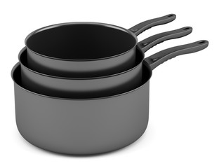 three black cooking pots isolated on white background