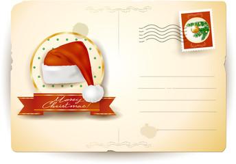 Christmas postcard with Santa's hat