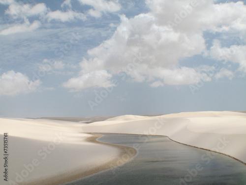 Fotobehang Woestijn Dunes and lake landscape in Lencois Maranhenses. Brazil