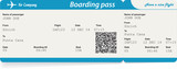 Vector image of airline boarding pass ticket with QR2 code poster