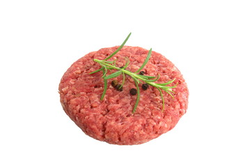 raw minced beef meat on white background