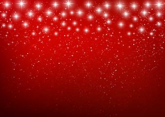 Shiny stars on red background