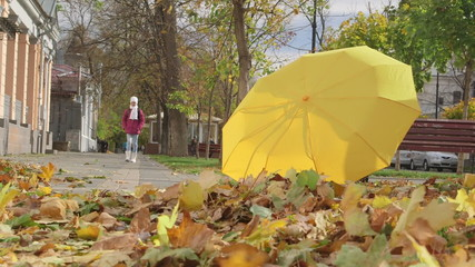 Yellow umbrella and golden fallen leaves on a sidewalk