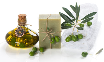 Soap and green olives. Spa elements.