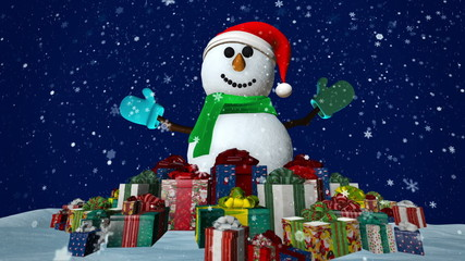 Snowman with many presents at snowfall background